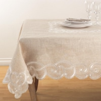 SARO QX168.N67S Embroidered Scallop Design Natural Linen Blend Tablecloth  Natural - 1