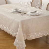 SARO QX168.N67104B Embroidered Scallop Design Natural Linen Blend Tablecloth  Natural