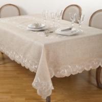 SARO QX168.N67160B Embroidered Scallop Design Natural Linen Blend Tablecloth  Natural