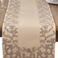 SARO 0318.N1672B Floral Embroidered Flourish Border Trim Design Everyday Table Runner - Natur - 1