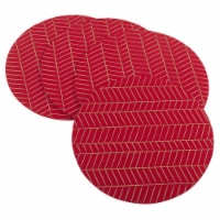 Saro Lifestyle 323.R15R Metallic Chevron Design Holiday Felt Placemat Set - Red - Set of 4