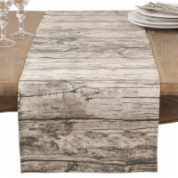 SARO 426.N1672B 16 x 72 in. Rectangle Table Runner with Printed Wood Design  Natural - 1