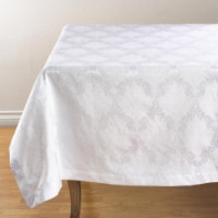 SARO DM888.W67S 67 in. Square Damask Simply Luxurious Tablecloth  White - 1