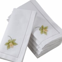 Saro Lifestyle NM145.W20S 20 in. Broderie Square Hemstitch Table Napkins with Green Orchid