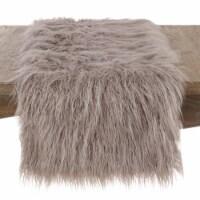 SARO 706.FG1672B 16 x 72 in. Rectangle Mongolian Faux Fur Table Runner - Fog