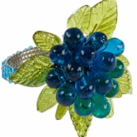 SARO NR728.A Flower & Leaves Design Beaded Napkin Ring  Aqua - Set of 4
