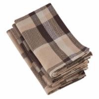 Saro Lifestyle 4077.BR20S 20 in. Square Brown Plaid Design Cotton Napkins - Brown, Set of 4
