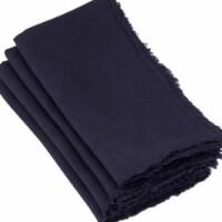 Saro Lifestyle 20 in Graciella Square Fringed Design Linen Napkins-Midnight Black, set of 4