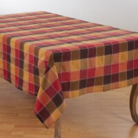 SARO 8571.M70180B 70 x 180 in. Rectangle Stitched Plaid Cotton Blend Tablecloth - Multi Color - 1