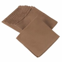 SARO 222.T20S 100 Percent Square Cotton Dinner Napkins  Taupe - Set of 12 - 1