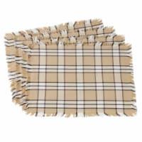 Saro Lifestyle 2853.KH1420B Plaid & Fringe Trimmed Cotton Table Placemats, Khaki - Set of 4