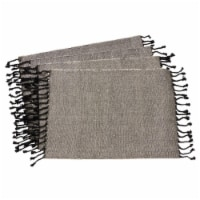 Saro Lifestyle 4869.BK1420B 14 x 20in Rectangle Tassel Design Jute & Cotton Table Mats-Black