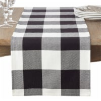 SARO 9025.BK1690B 16 x 90 in. Rectangle Cotton Table Runner with Buffalo Plaid Pattern - Blac