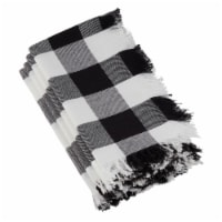 Saro Lifestyle 20 in. Square Buffalo Plaid Classic Design Fringed Buffalo Plaid Napkins
