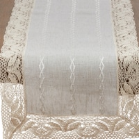 Saro Lifestyle 4791.N1672B 16 x 72 in. Rectangle Poly Blend Table Runner with Embroidered Lac