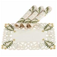 Saro Lifestyle QX227.I1420B Pandoro Collection Christmas Tree Placemat, Ivory - Set of 4