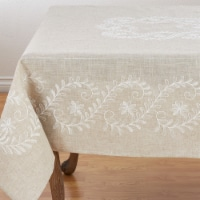 Saro Lifestyle 2053.N67S 16 x 68 in. Embroidered Floral Tablecloth, Natural