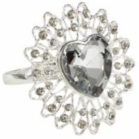 Saro Lifestyle NR421.S Jeweled Heart Napkin Ring, Silver - Set of 4