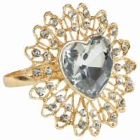 Saro Lifestyle NR421.GL Jeweled Heart Napkin Ring, Gold - Set of 4 - 1
