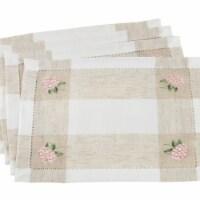Saro Lifestyle 2236.I1419B Hemstitch Placemats with Embroidered Hydrangea Design, Ivory - Set