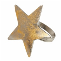 SARO NR182.GL Dinner Napkin Ring with Gold Texture Star Top - Set of 4