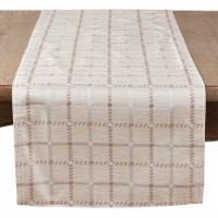 SARO 6070.KH1672B 16 x 72 in. Rectangular Long Table Runner with Checkered Print - Khaki