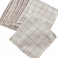 SARO 6070.KH20S 20 in. Square Box Check Design Cloth Napkins - Khaki  Set of 12 - 1