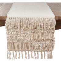 Saro Lifestyle 3202.S1672B Cotton Table Runner Cloth with Sequin Moroccan Design, Silver