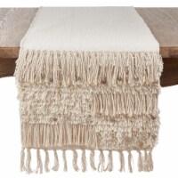 SARO 3202.S1672B Cotton Table Runner Cloth with Sequin Moroccan Design  Silver - 1