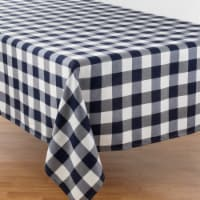 SARO 5026.NB70140B 70 x 140 in. Rectangular Buffalo Plaid Design Cotton Blend Tablecloth - Bl