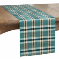 SARO 805.TQ1472B 14 x 72 in. Oblong Table Runner with Turquoise Plaid Woven Water Hyacinth De - 1