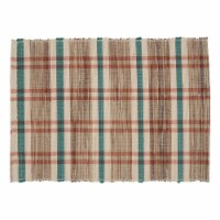 SARO 805.M1420B 14 x 20 in. Oblong Water Hyacinth Placemats with Plaid Woven Design - Set of - 1