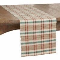 SARO 805.M1472B 14 x 72 in. Oblong Table Runner with Plaid Woven Water Hyacinth Design - 1