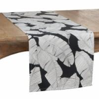 SARO 1934.BW1690B 16 x 90 in. Oblong Outdoor Runner with Black & White Banana Leaf Design - 1