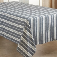 Saro Lifestyle 5618.NB65120B 65 x 120 in. Oblong Cotton Tablecloth with Navy Blue Striped Des