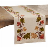 Saro Lifestyle 1067.N1672B 16 x 72 in. Oblong Embroidered Fall Leaf Design Table Runner, Natu - 1