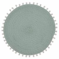 SARO 2802.MN15R 15 in. Round Pom Pom Design Placemats - Set of 4