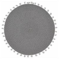 Saro Lifestyle 15 in. Round Pom Pom Design Placemats, Grey - Set of 4