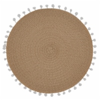 Saro Lifestyle 2802.N15R 15 in. Round Pom Pom Design Placemats, Natural - Set of 4