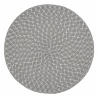 SARO 2807.GY15R 15 in. Round Placemats with Grey Woven Design - Set of 4