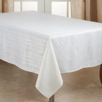 SARO 6223.W65140B 65 x 140 in. Oblong Jacquard Tablecloth with White Stripe Design