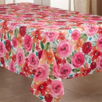 SARO 3233.M6590B 65 x 90 in. Oblong Casual Tablecloth with Floral Design - 1