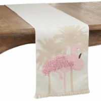 SARO 9130.P1372B 13 x 72 in. Oblong Dining Table Runner with Flamingo Design