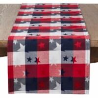 SARO 1776.M16108B 16 x 108 in. Oblong Patriotic Plaid & Star Design Table Runner
