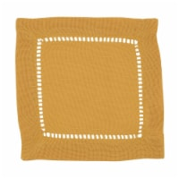Saro Lifestyle 6 in. Square Classic Hemstitch Border Cocktail Napkin, Mustard - Set of 12