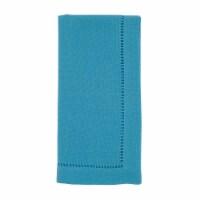 Saro Lifestyle 20 in. Square Classic Hemstitch Border Dinner Napkin, Turquoise - Set of 12 - 1