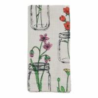 SARO 536.I20S Cotton Table Napkins with Flowers & Vases Design - Set of 4 - 1