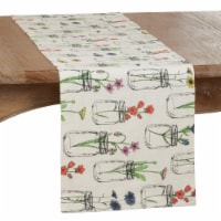SARO 536.I1472B Long Table Runner with Flowers & Vases Design