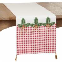 SARO 1328.RG1672B Christmas Table Runner with Buffalo Plaid Holly Design