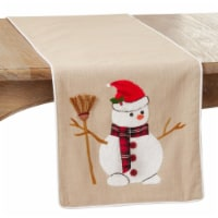 SARO 9162.N1672B 16 x 72 in. Oblong Natural Embroidered Snowman Design Table Runner